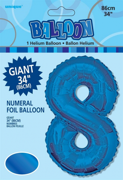 Large Blue No 8 Shaped Foil Balloon