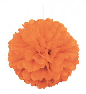 "Pumpkin Orange 16"" Puff Ball Decoration"