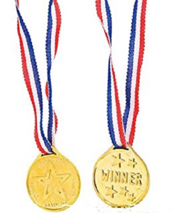 Winner's Medal on Red White Blue Ribbon