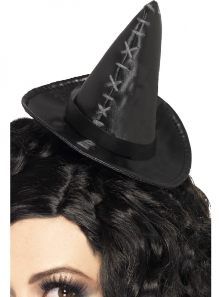 Witch Hat - Black Mini with Stitches on Headband