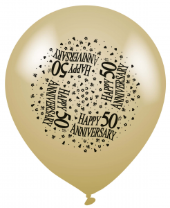 50th Golden Anniversary Gold Latex Balloons