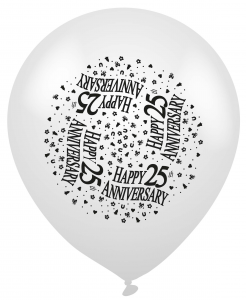 25th Silver Anniversary Silver Latex Balloons