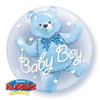 "Baby Boy 24"" Blue Bear inside a Clear Plastic Bubble Balloon"