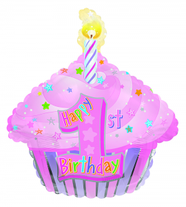 Girl's 1st Birthday Cup Cake Shape Foil Balloon