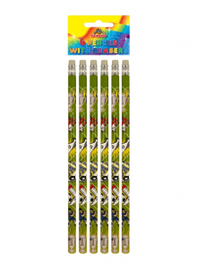 Pack of 6 Football Pencils with Rubber Tops