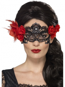 Day of The Dead Face Mask With Red Roses