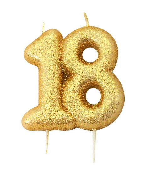 Gold Glitter Age 18 Moulded Cake Candle