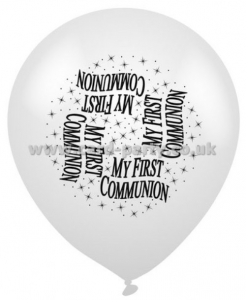 White First Communion Latex Balloons