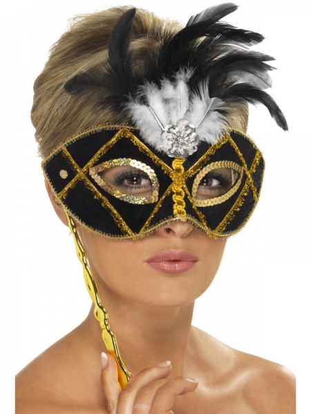 Black & Gold Eyemask with Feathers & Stick
