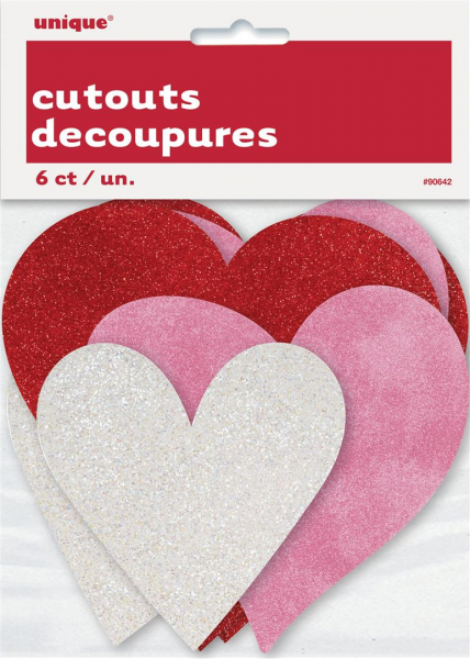 Heart Shape Cut Outs In Red Pink & White with Glitter