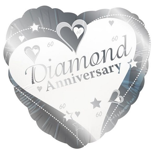 "Diamond Anniversary 18"" Heart Shaped Foil Balloon"