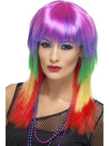 Rainbow Ladies Long Rocker Wig
