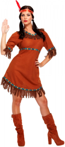 Ladies Adult Red Indian Fancy Dress Costume