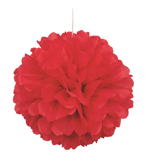 "Red 16"" Puff Ball Decoration"