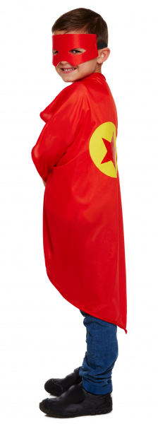 Kids Red Super Hero Cape with Mask