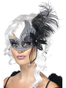 Masquerade Ball Mask in Silver & Black with Feathers