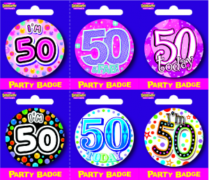 Age 50 Small Badges - Mixed Gender