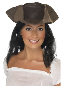 Leather Look Pirate Hat with Black Hair