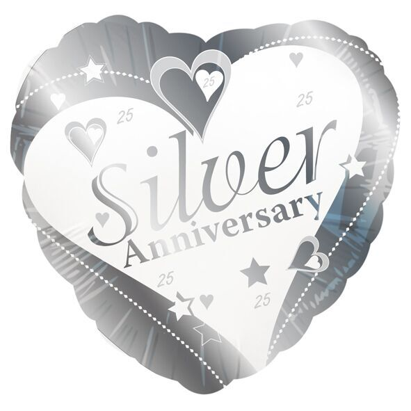 "Silver Wedding Anniversary Heart Shaped 18"" Foil Balloon"
