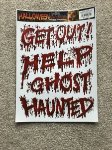 Get Out Help Ghost Haunted Written in Blood Decal