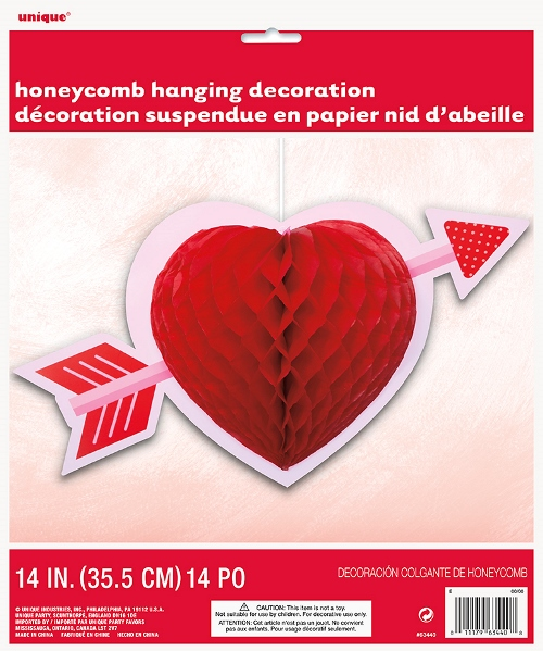 Valentines Red Heart Honeycomb Hanging Dec