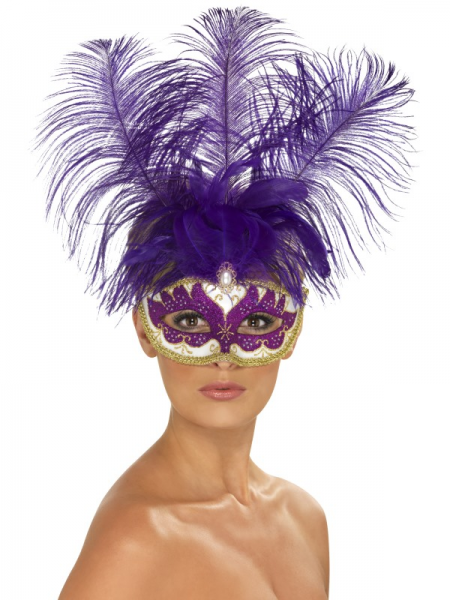 Purple Can Can Beauty Eyemask with Feather Plume