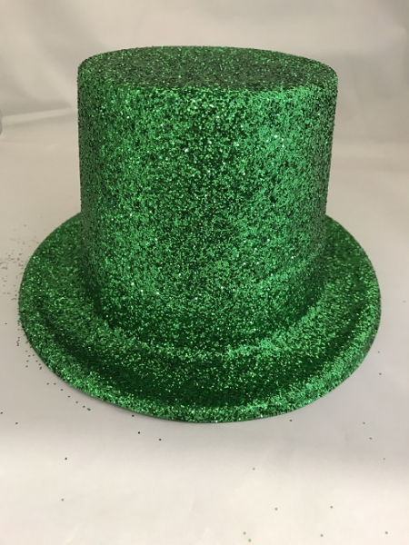 St Patricks Day Green Glitter Top Hat