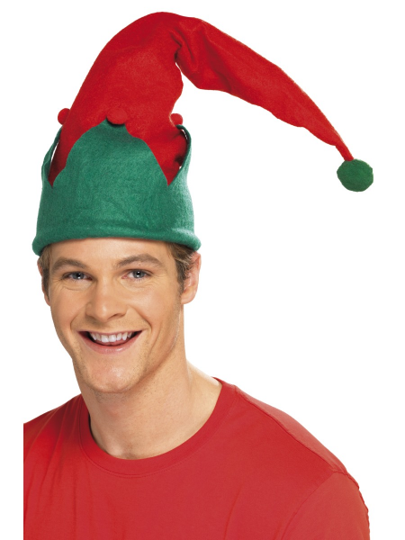 Santa's Christmas Elf Hat in Red & Green With Pom Pom