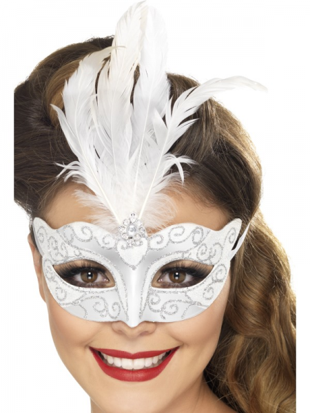 Silver Venetian Glitter Eyemask with Feathers & Ties